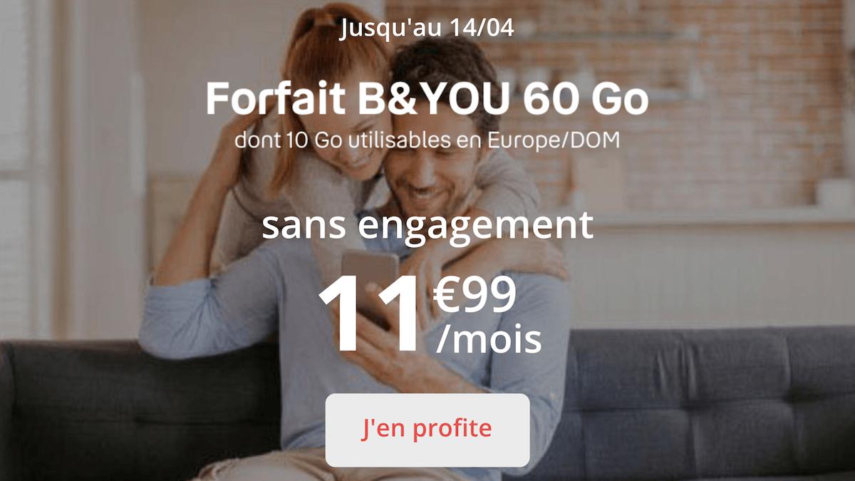 Le forfait 60 Go de B&YOU en promotion