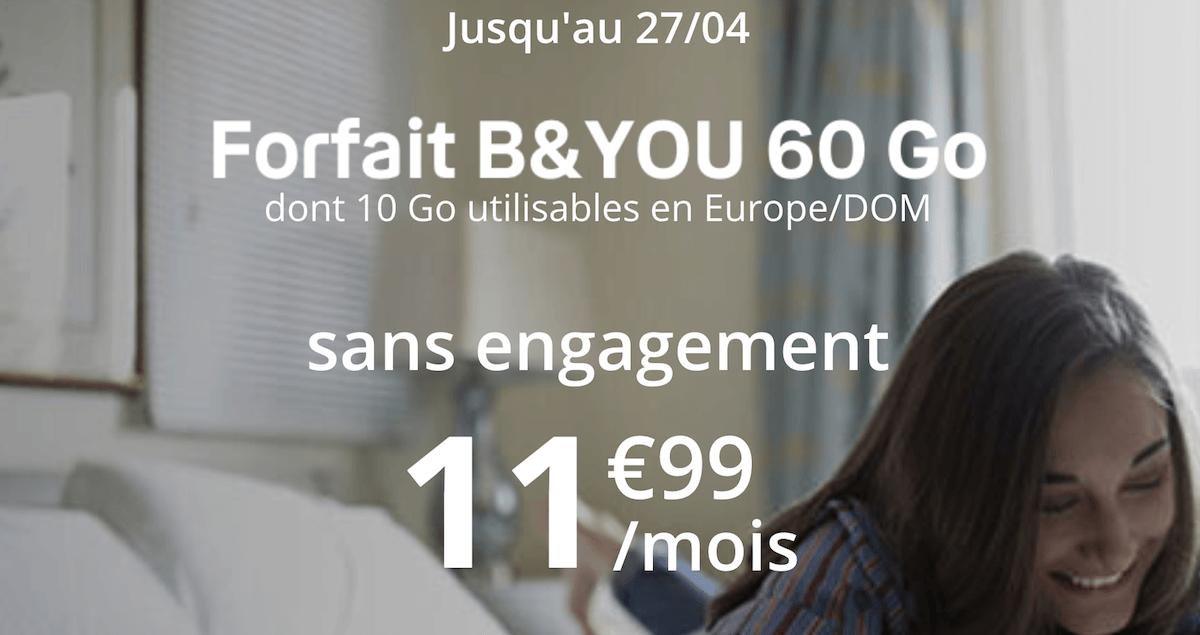 60 Go de données mobiles pour seulement 11,99€/mois chez B&YOU