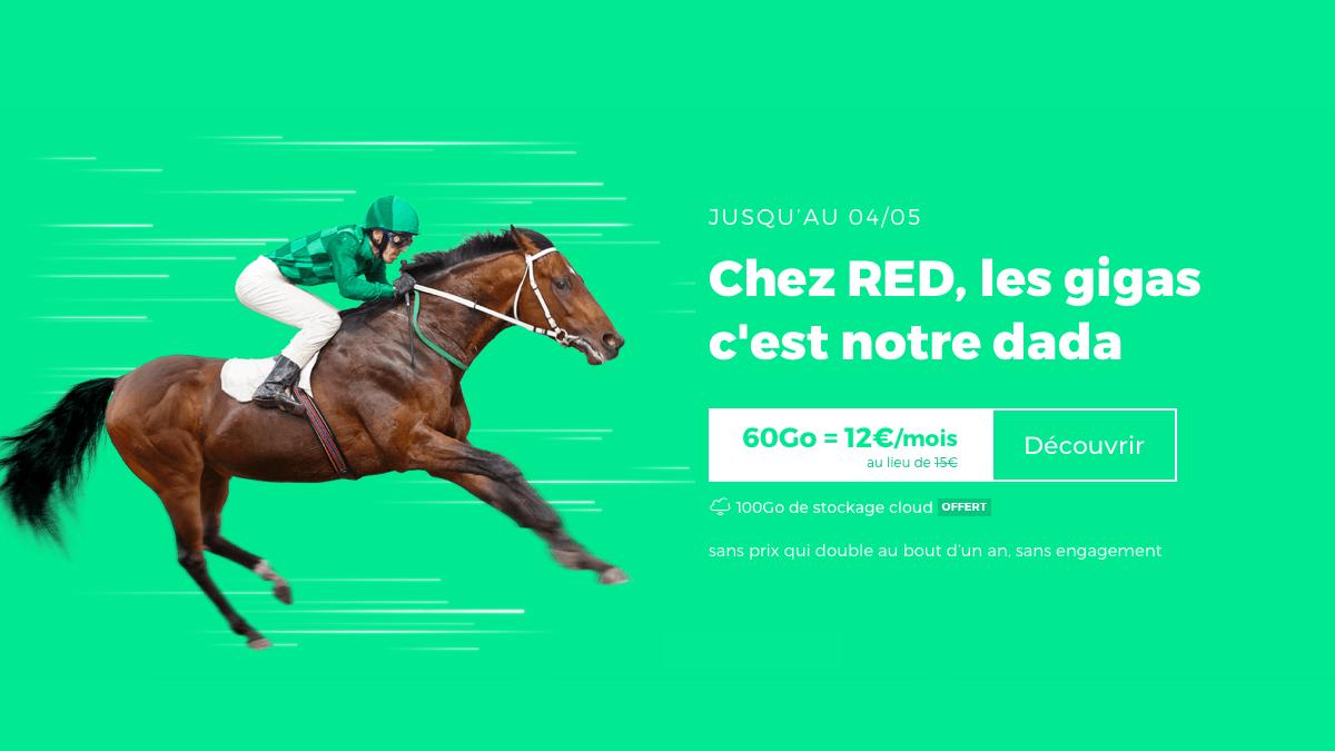 Un forfait sans engagement chez RED by SFR, c'est à 12€/mois.