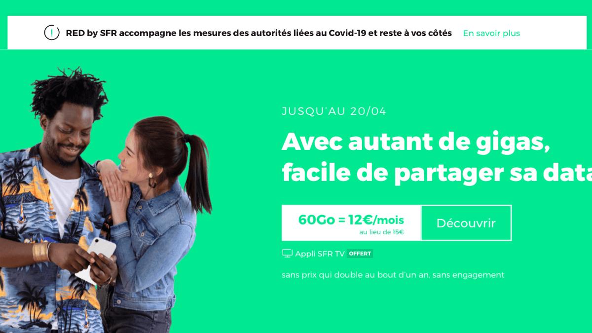 Le forfait RED by SFR est disponible à 12€/mois seulement.