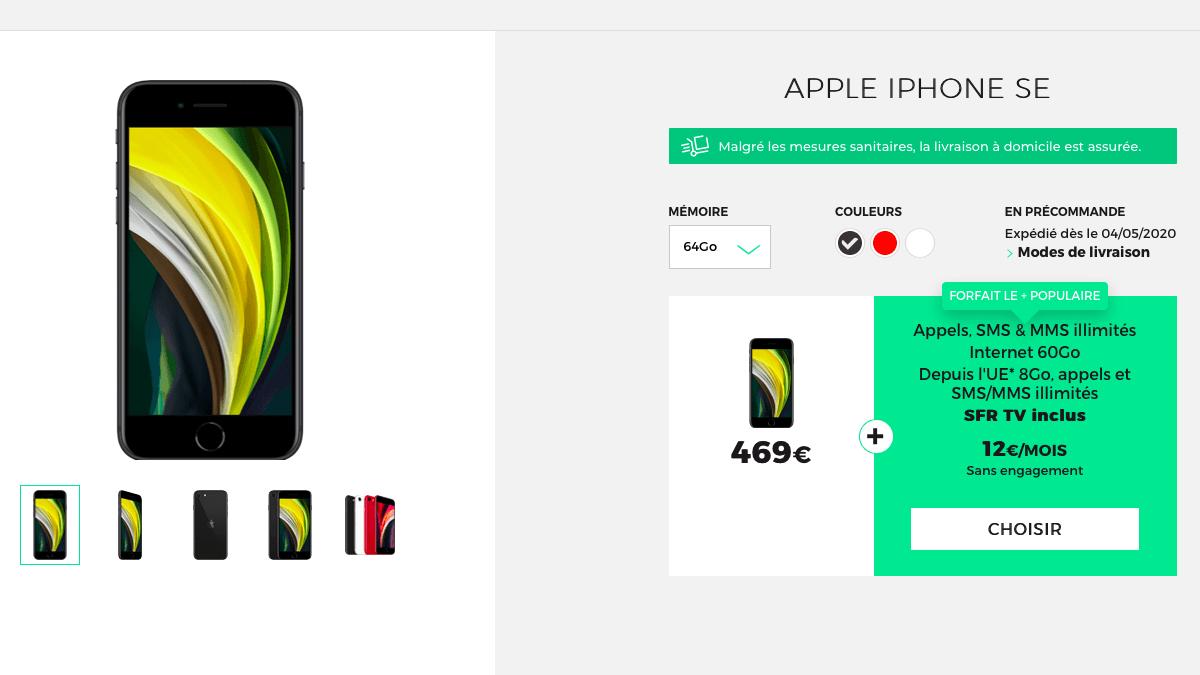 L'iPhone SE est disponible avec un forfait sans engagement chez RED by SFR.