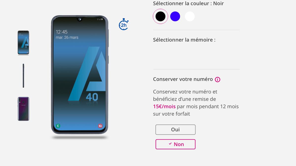 Le Samsung A8 est à 1€/mois seulement chez Bouygues Telecom.