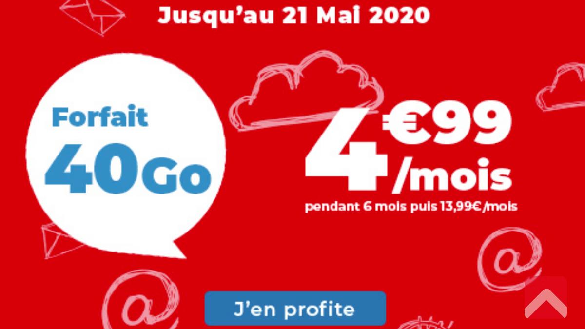 Promo Auchan Telecom forfait 40 Go.