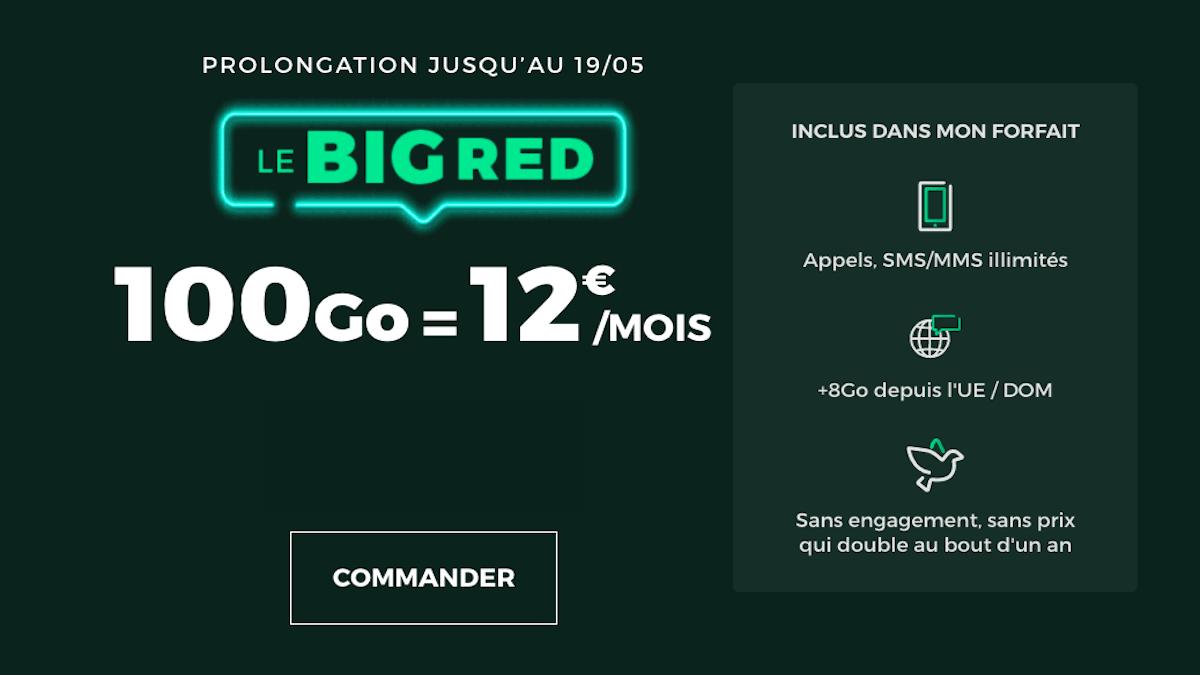 Promo BIGRED forfait 100 Go 12€ SFR