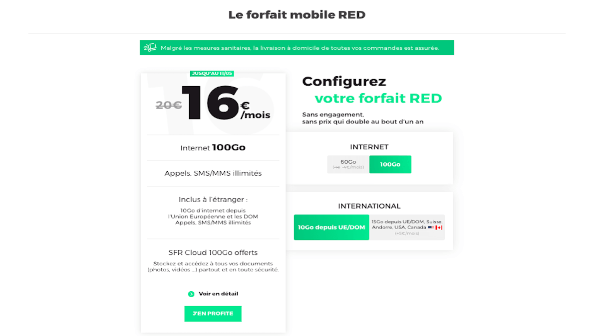 Le forfait en promotion de RED by SFR propose 100 Go de data.