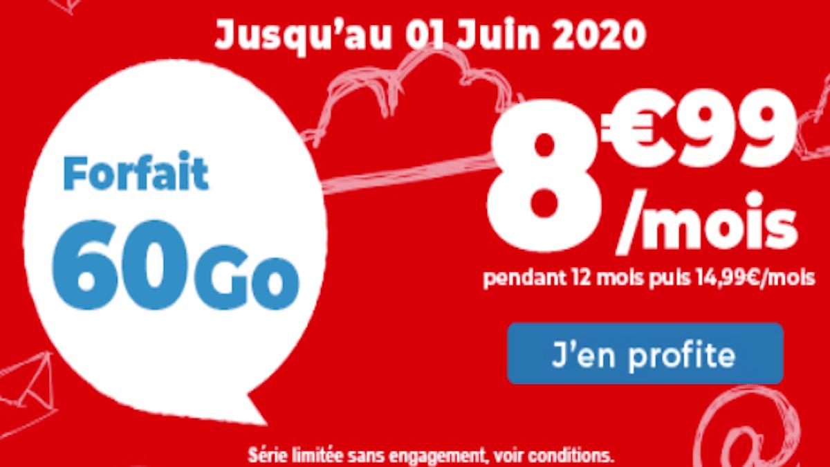 forfait sans engagement à 8,99€ chez Auchan