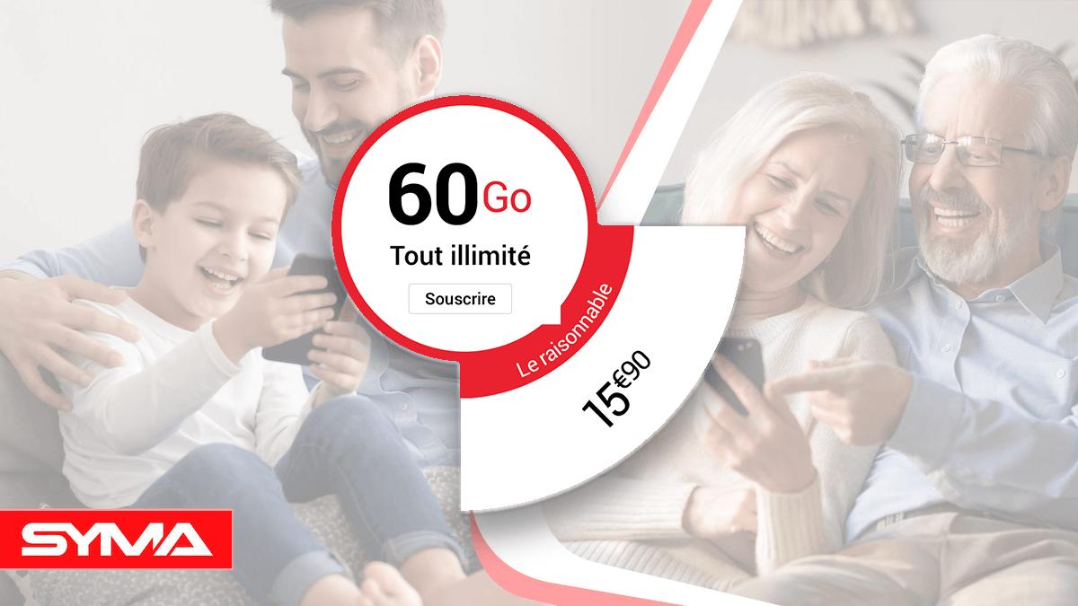 L'offre 60 Go de Syma Mobile pour un forfait pas cher