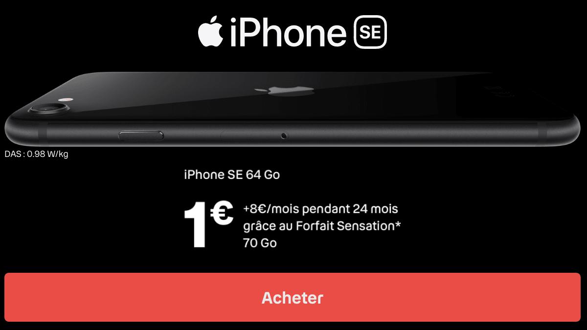 Le forfait Sensation 70 Go avec iPhone SE.