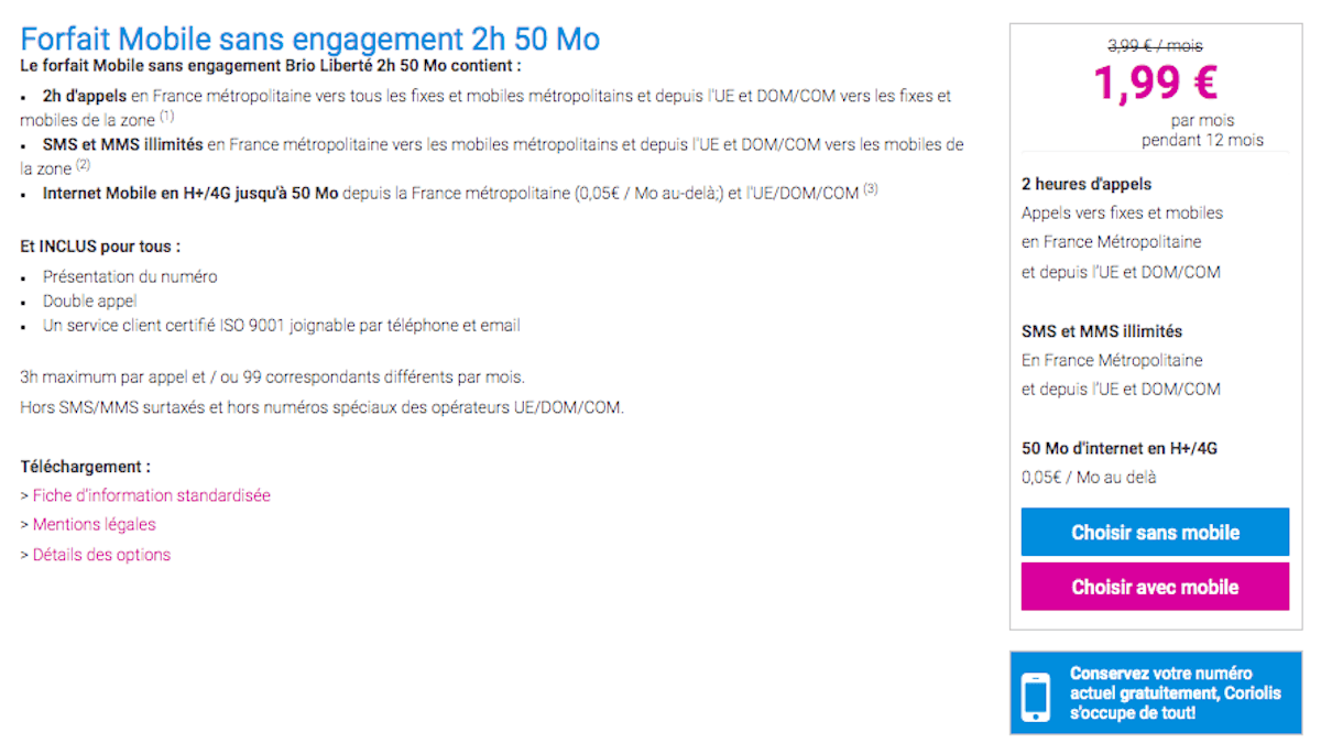 forfait à 2€ Coriolis Telecom