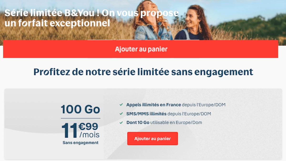 forfait b&you 100 Go en promo