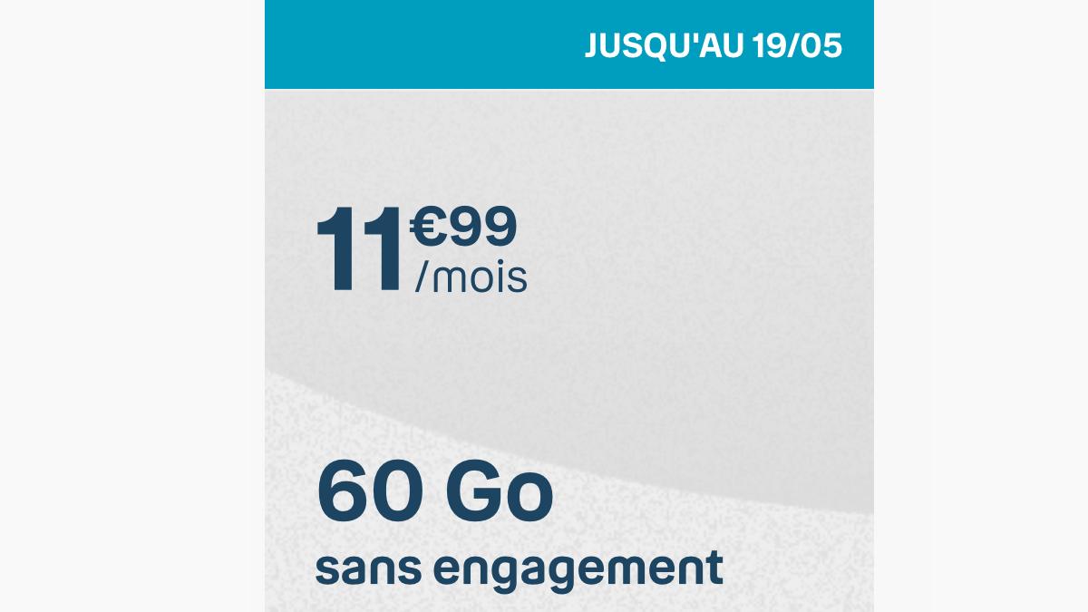 Le forfait en promo de B&YOU est à 11,99€ par mois.