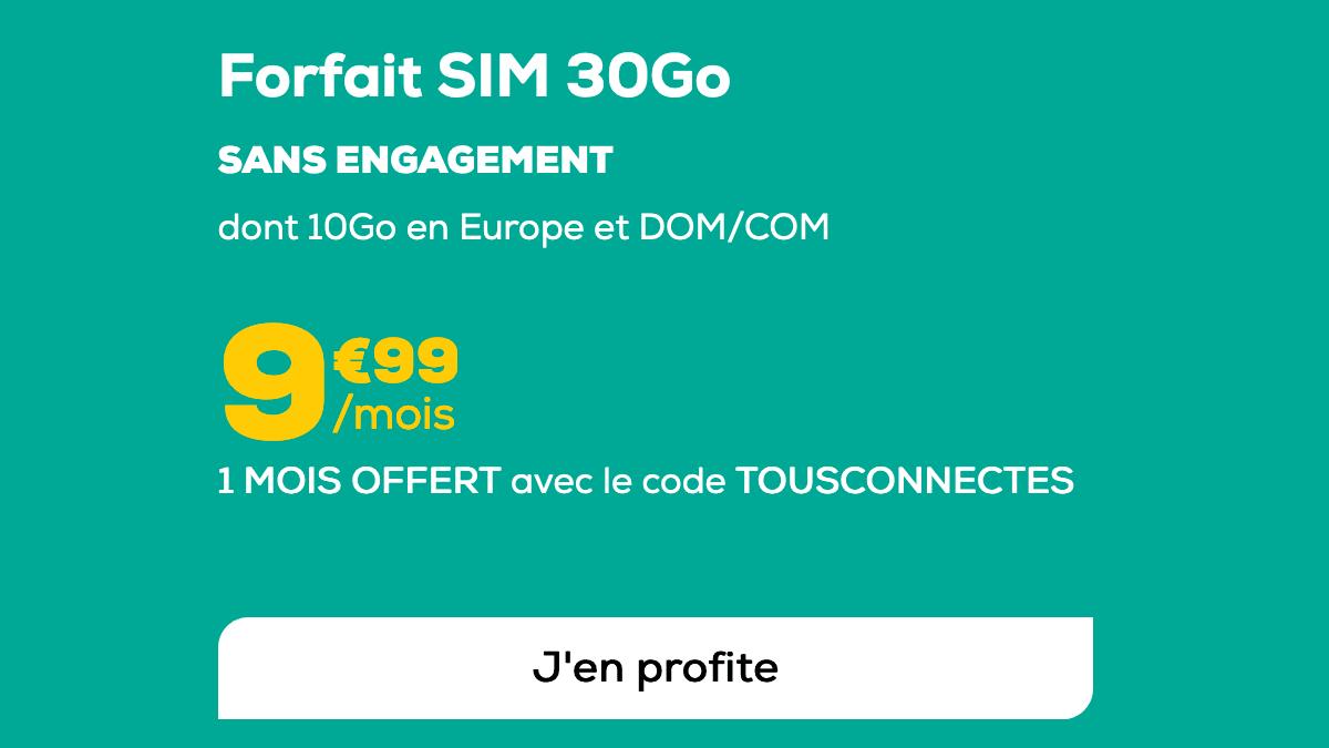 Promo forfait mobile 30 Go.