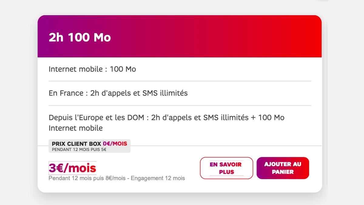 Le forfait 2 heures de SFR est à 0€ par mois pour les abonnés SFR.