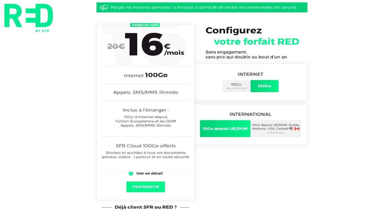 forfait red by sfr 100 Go promotion