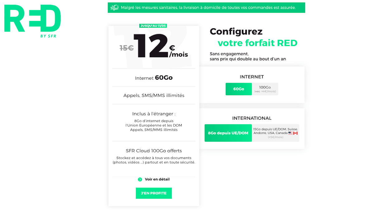 forfait sans engagement 60 go red by sfr