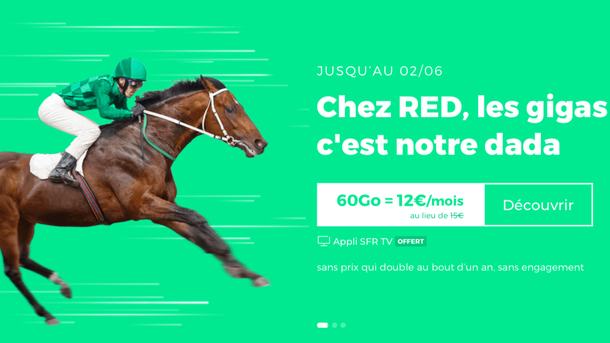 Le forfait sans engagement de RED by SFR propose 60 Go de data.