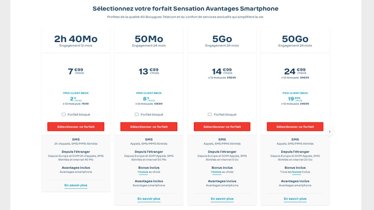 Promo forfaits Sensation Bouygues Telecom