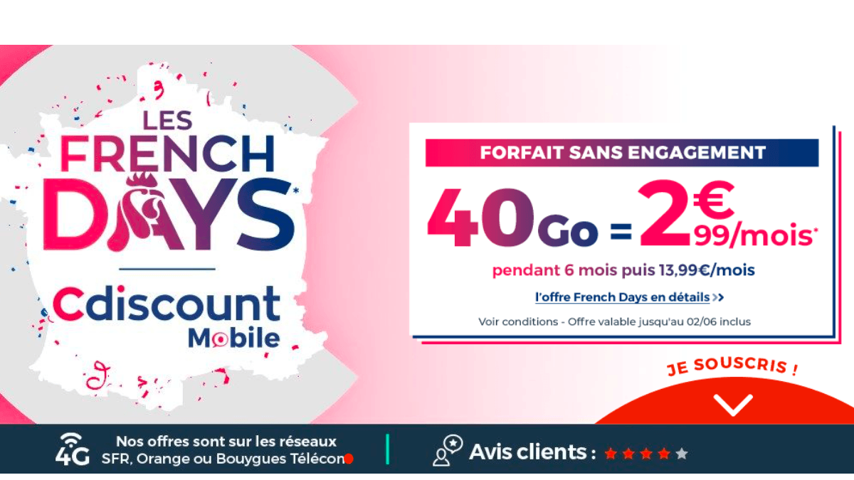 Les French Days chez Cdiscount Mobile : un forfait à 2€.