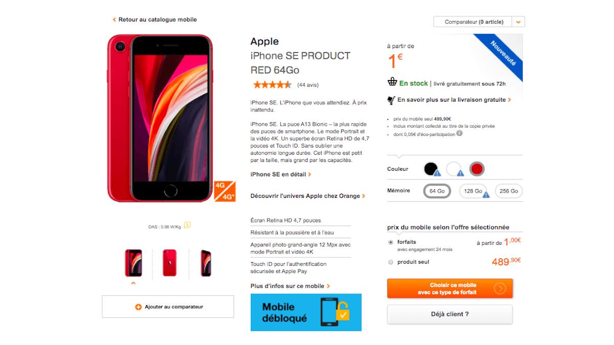 iPhoneSE dès 1€ chez Orange