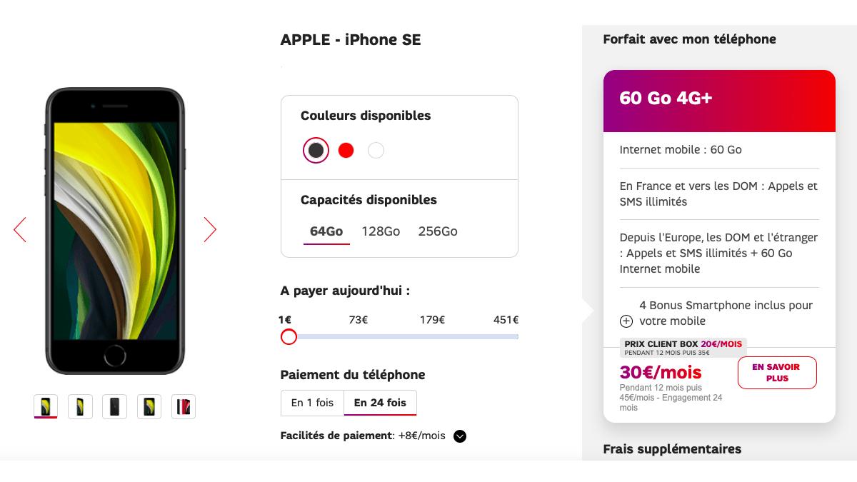 Avec SFR, profitez de réductions sur l'iPhone SE.