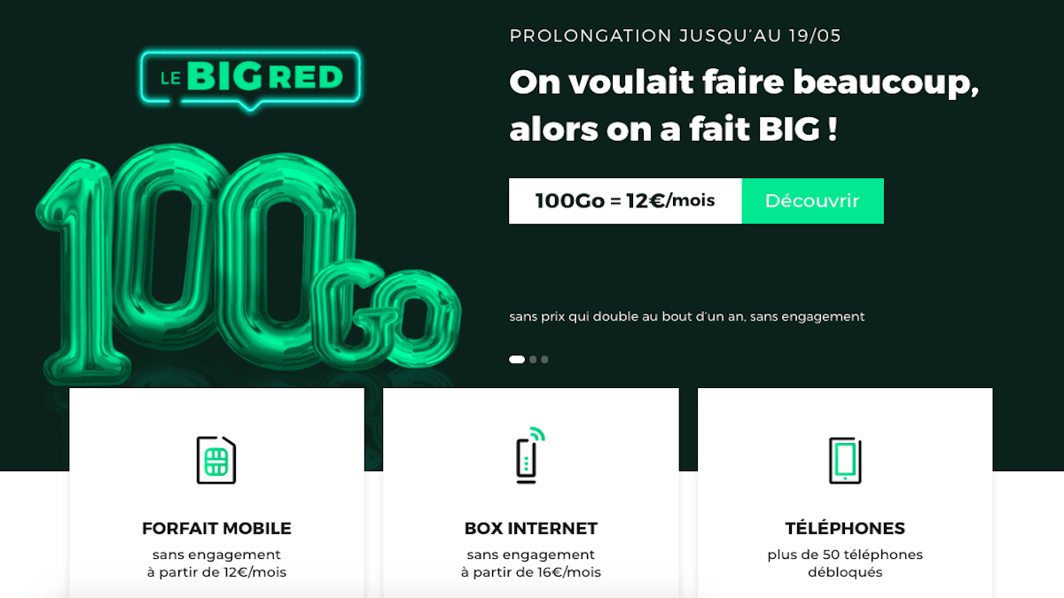 promo RED by SFR forfait 100 Go 12€