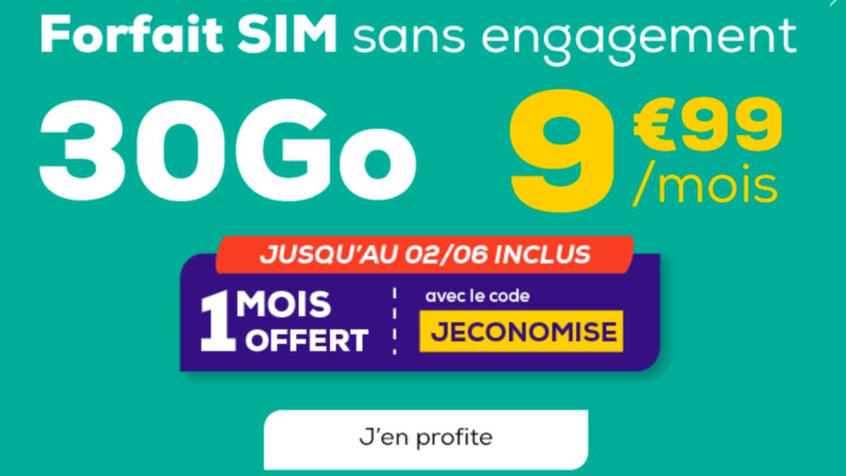 1 mois offert et 9,99€ par mois pour un forfait pas cher La Poste Mobile.