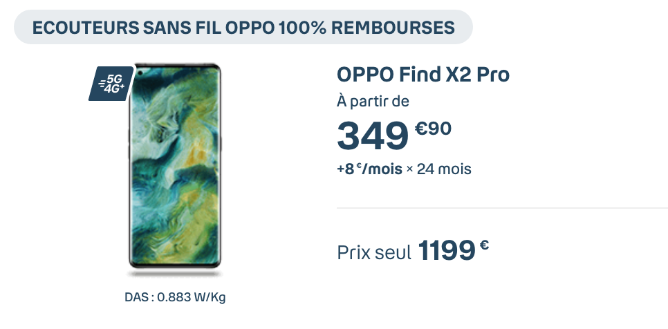 Oppo Find X2 Pro avec Bouygues Telecom