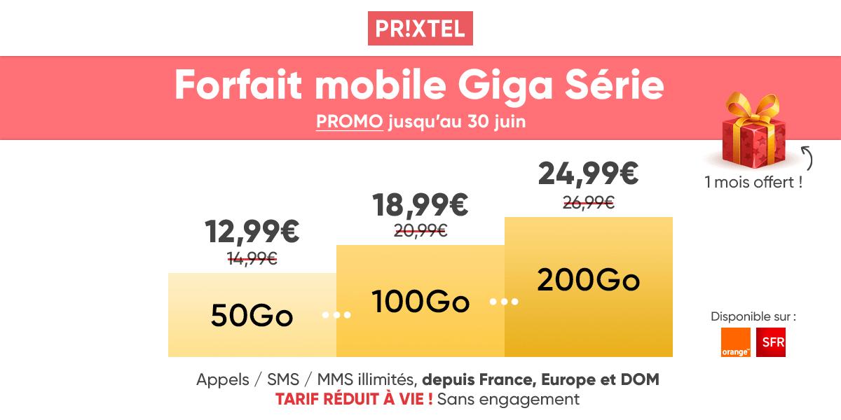 La giga série de Prixtel dès 12,99€ par mois