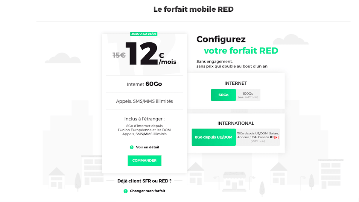 Forfait RED by SFR 60 Go à 12€
