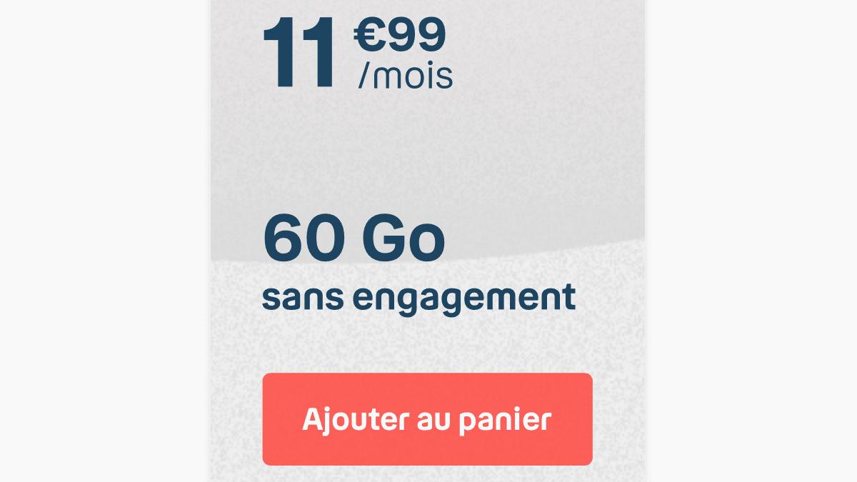 Le forfait 60 Go de B&YOU est à 11,99€ par mois, sans engagement.