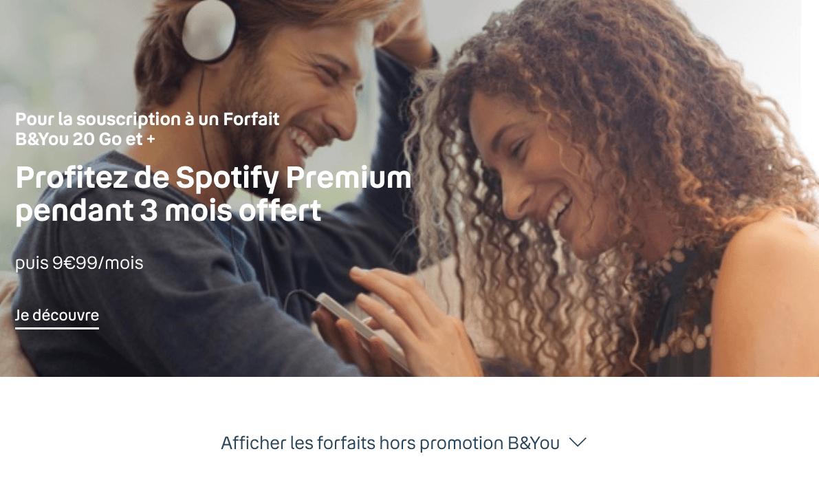 Spotify offert avec B&YOU