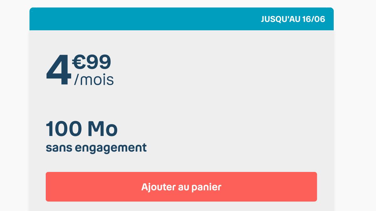 100 Mo de data à 4,99€ par mois chez B&YOU.