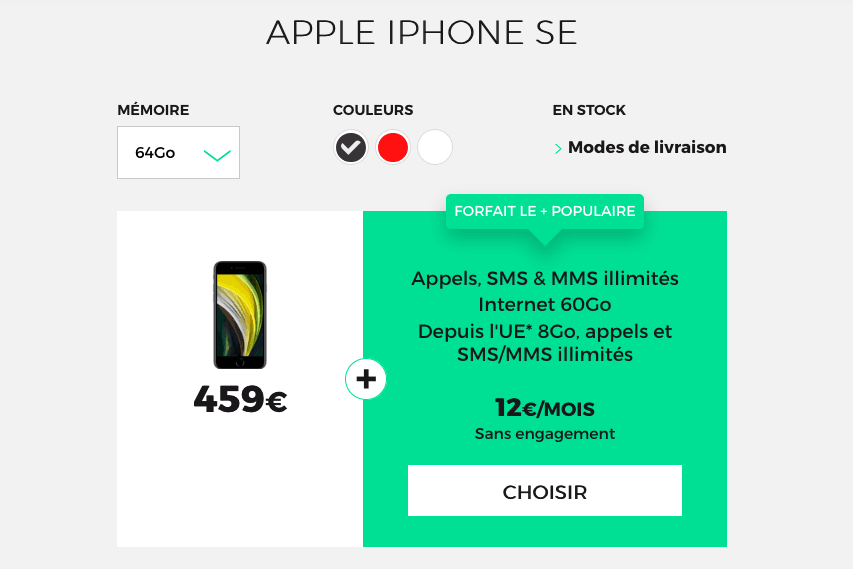 l'iPhone SE avec RED by SFR