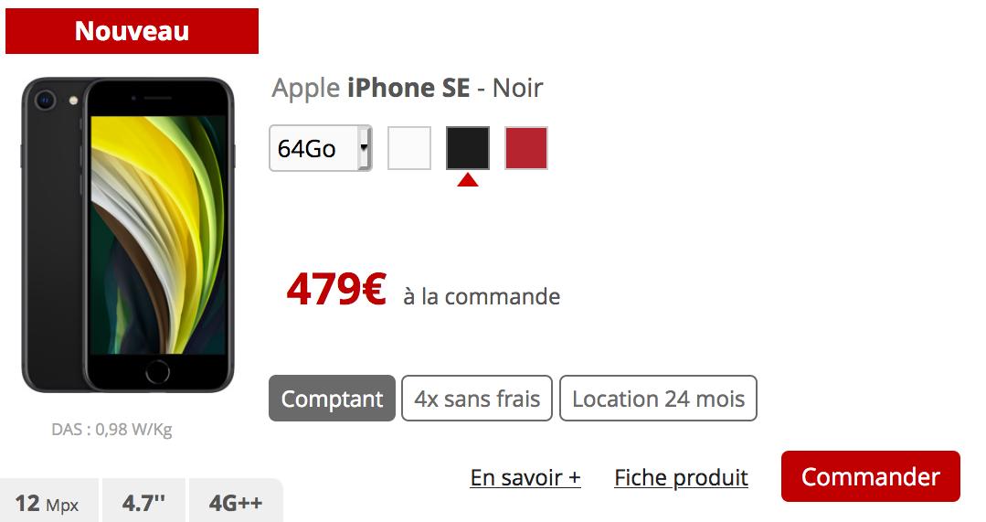 l'iPhone SE avec Free mobile