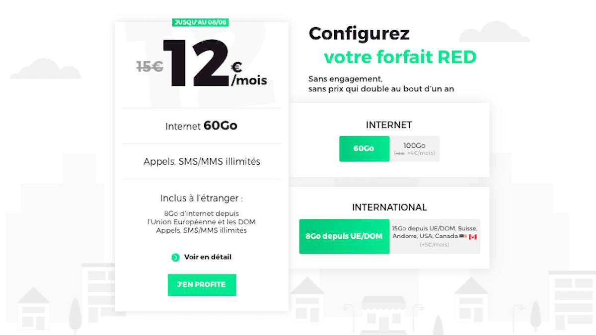 Forfait 60 Go à 12€ chez RED by SFR