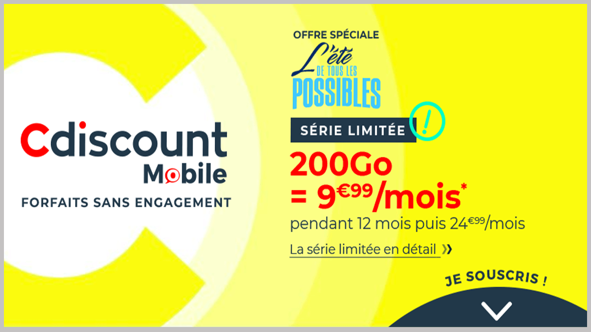200 Go pour 10€/mois avec Cdiscount Mobile