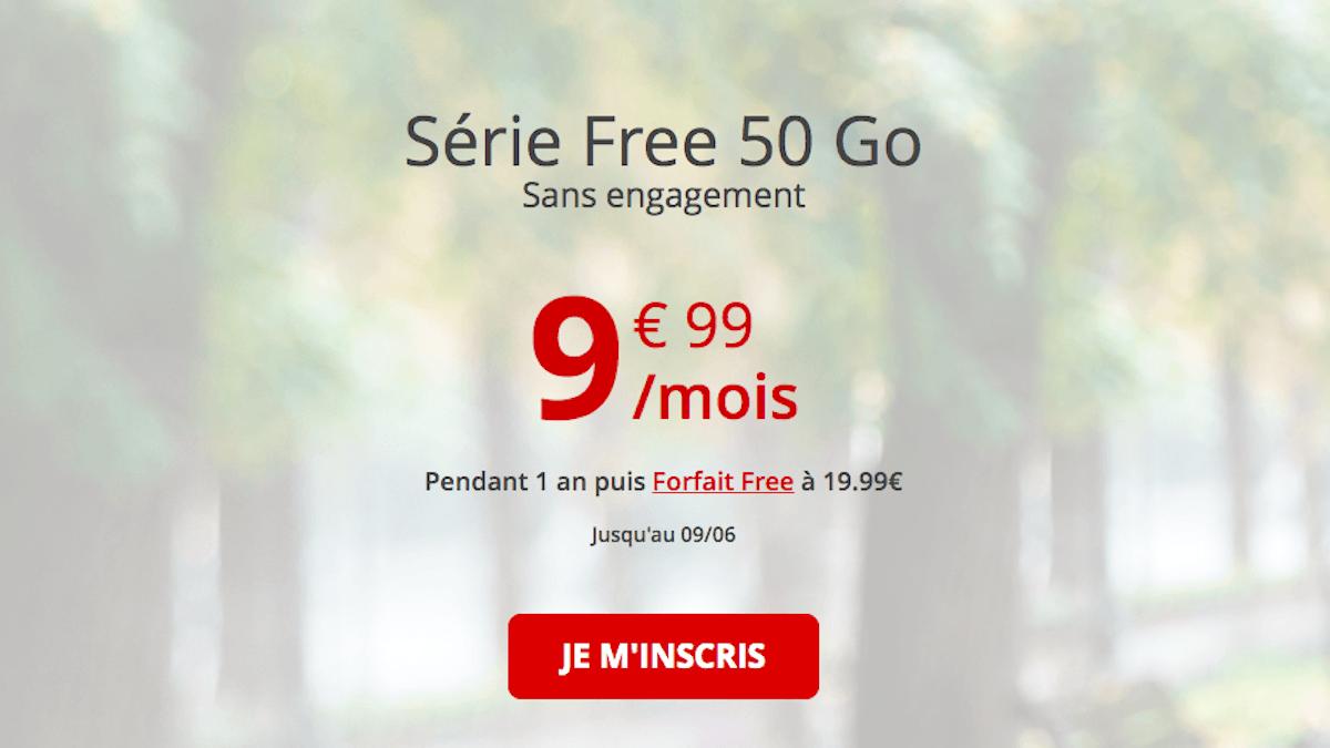 Série Free 50 Go sans engagement moins 10€
