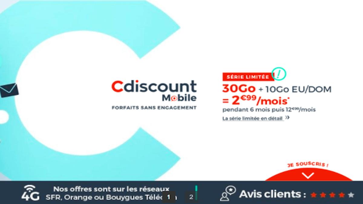 série limitée 30 Go 2,99€ Cdiscount Mobile