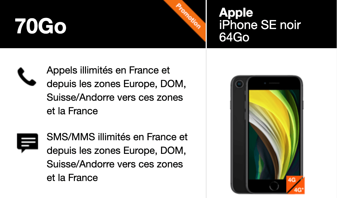 Orange propose un forfait mobile iPhone de 70 Go à partir de 19,90€ par mois.