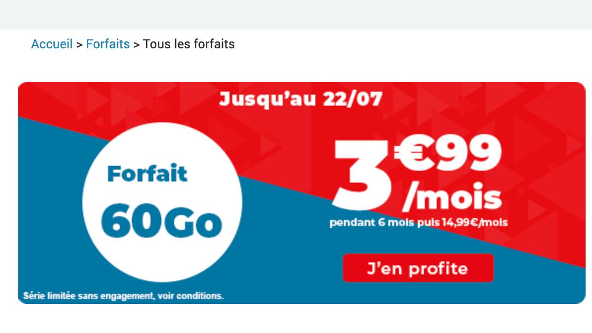 Auchan telecom propose un forfait mobile à 3,99€ par mois pendant 6 mois.