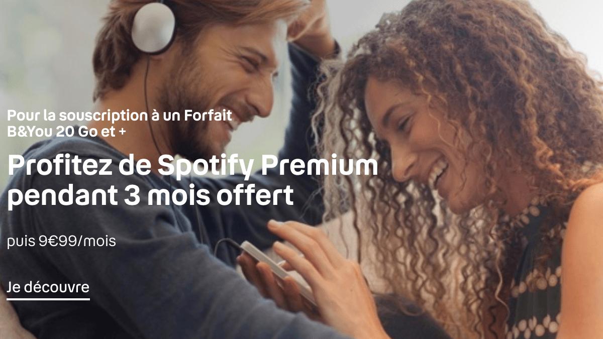 Le forfait mobile B&You est accompagnée de Spotify pendant 3 mois.