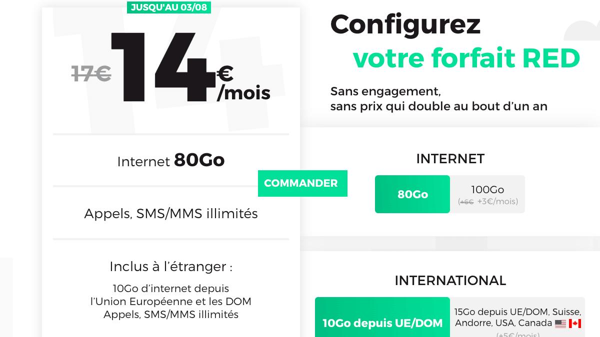 Le forfait mobile RED by SFR à 14€ par mois.