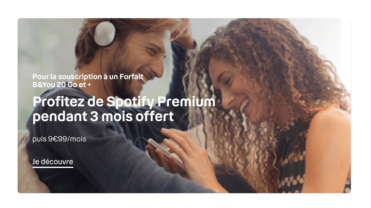 Spotify est gratuit pendant 3 mois avec l'offre mobile à 100 Go.