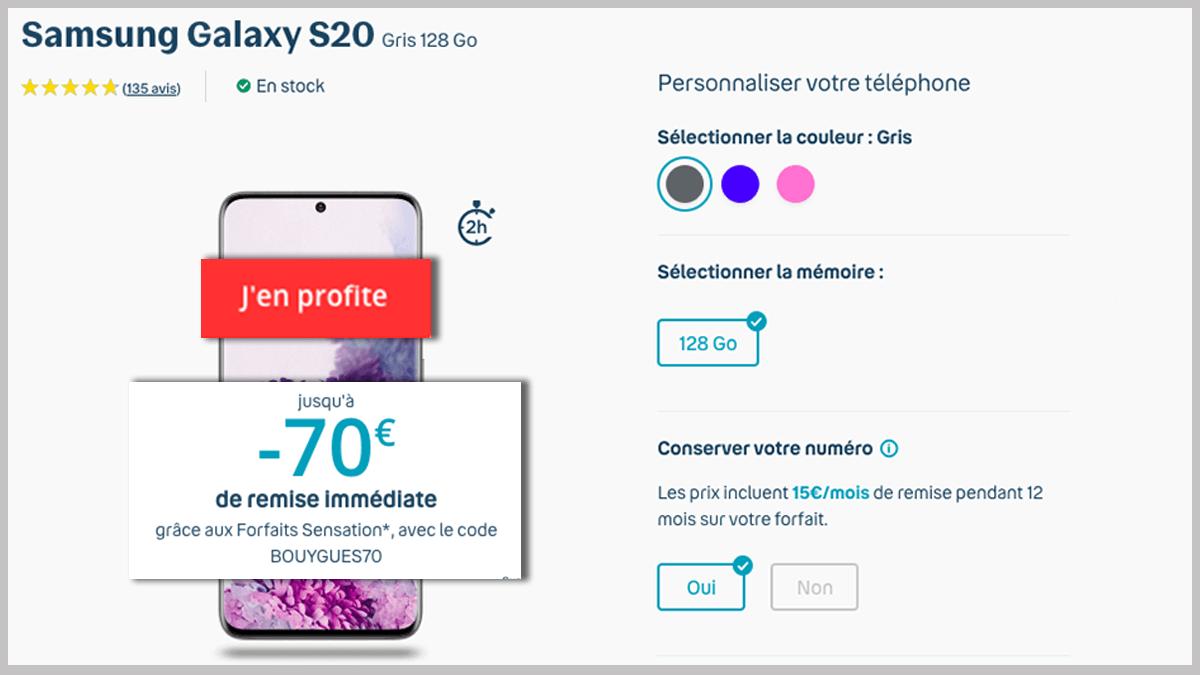 Remises smartphones Samsung Galaxy S20