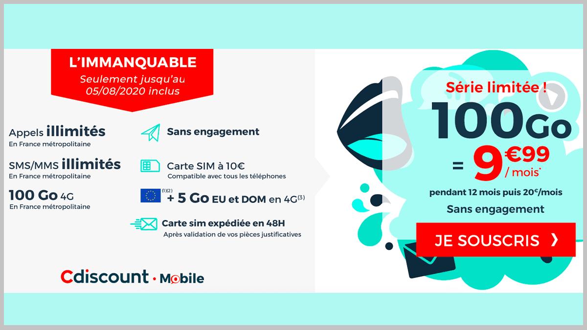 Nouveau forfait 100 Go Cdiscount Mobile