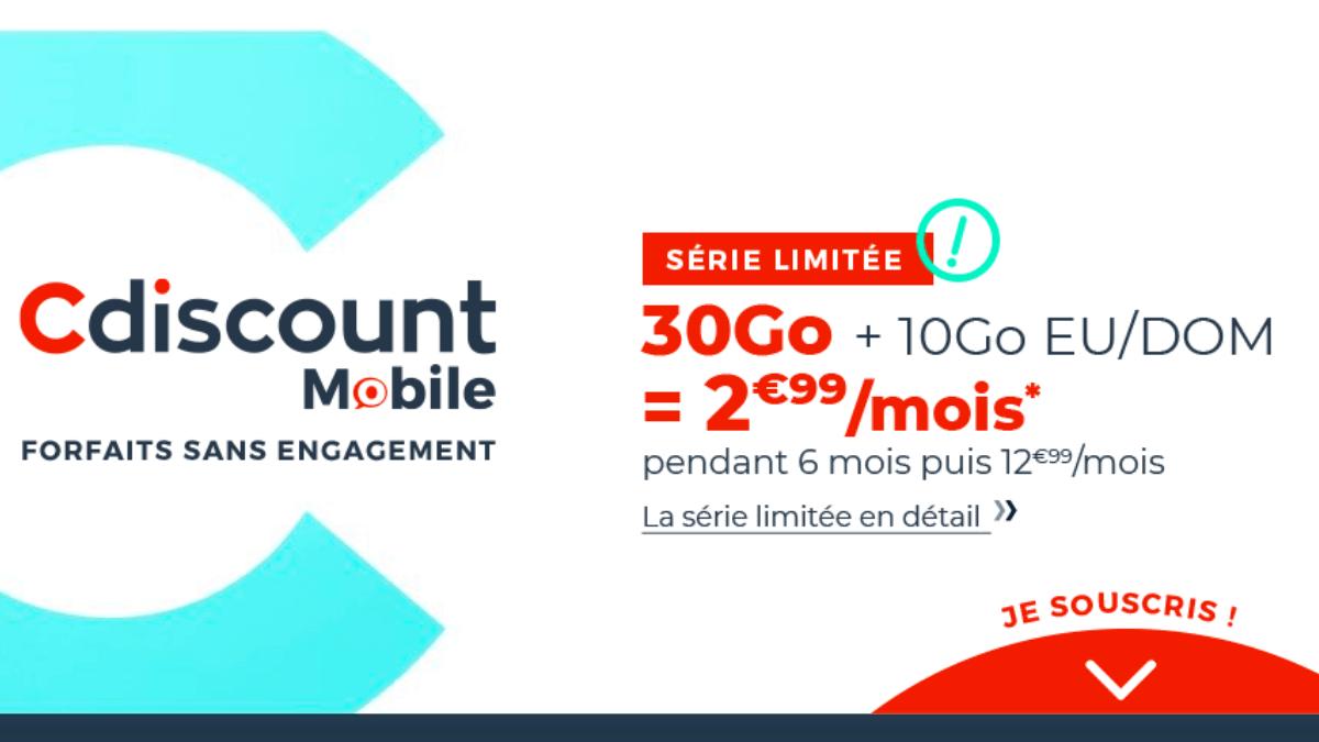 Cdiscount Mobile propose un forfait pas cher à 3€/mois seulement.