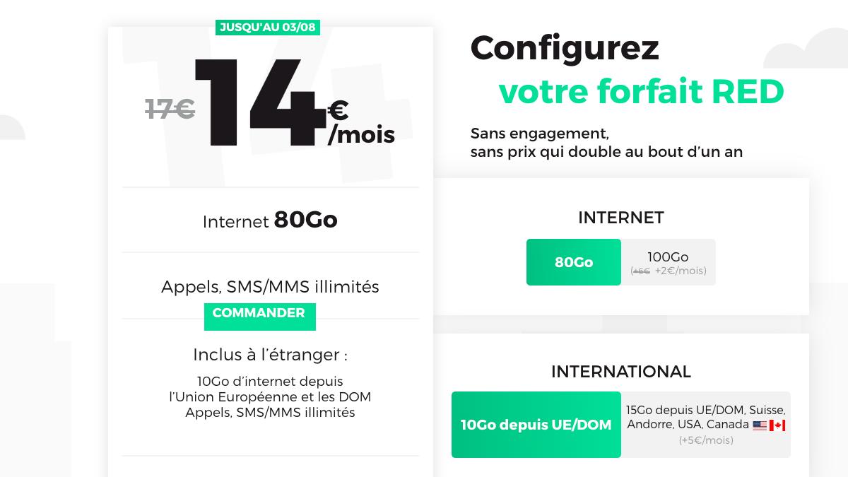 Le forfait RED 4G à partir de 14€ par mois.