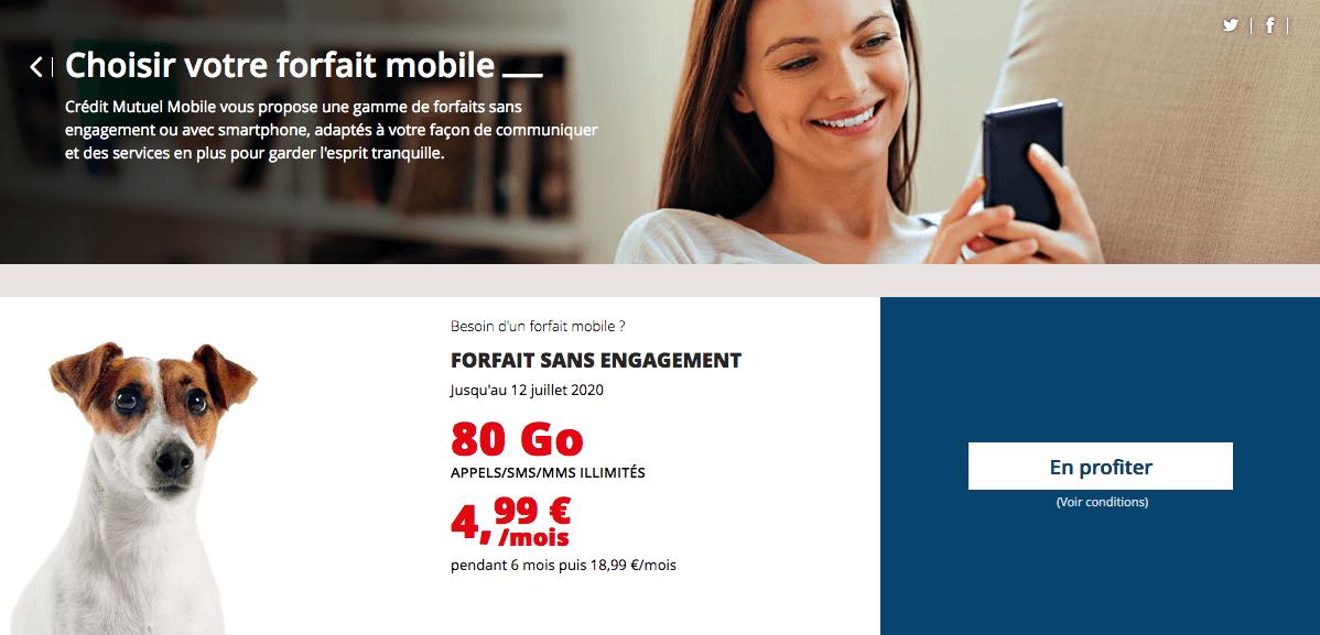 le forfait en promotion de credit mutuel mobile