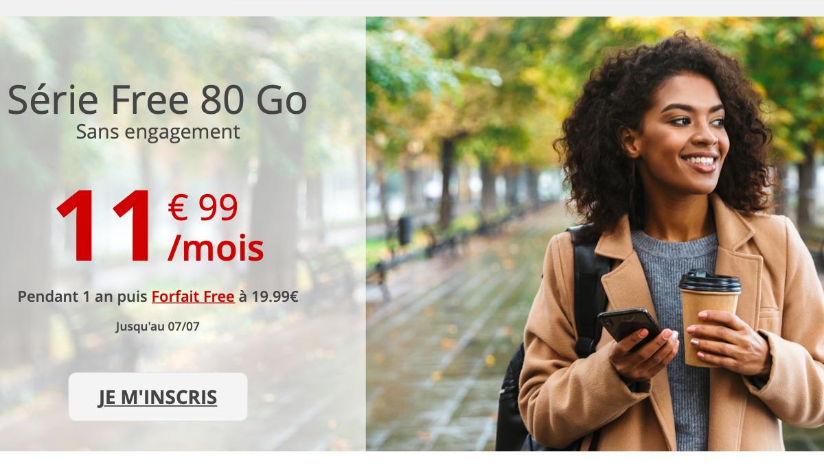 Le forfait en promo du moment chez Free mobile : 90 Go à 11,99€/mois.