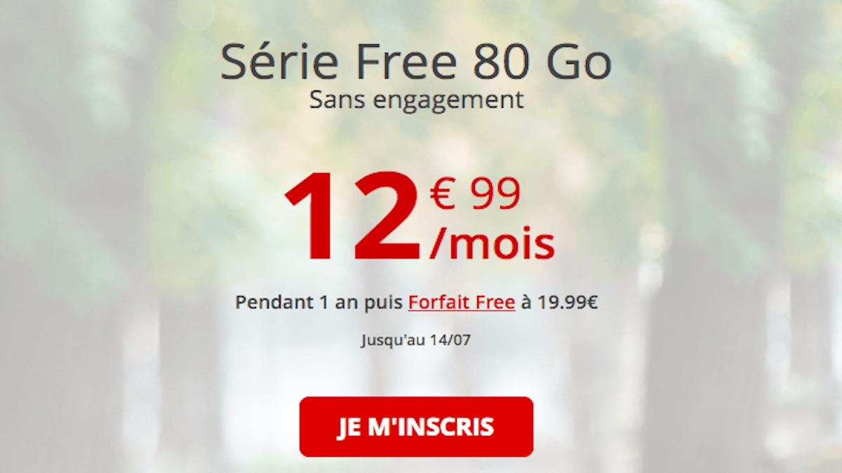forfait 80 Go en promo chez Free mobile